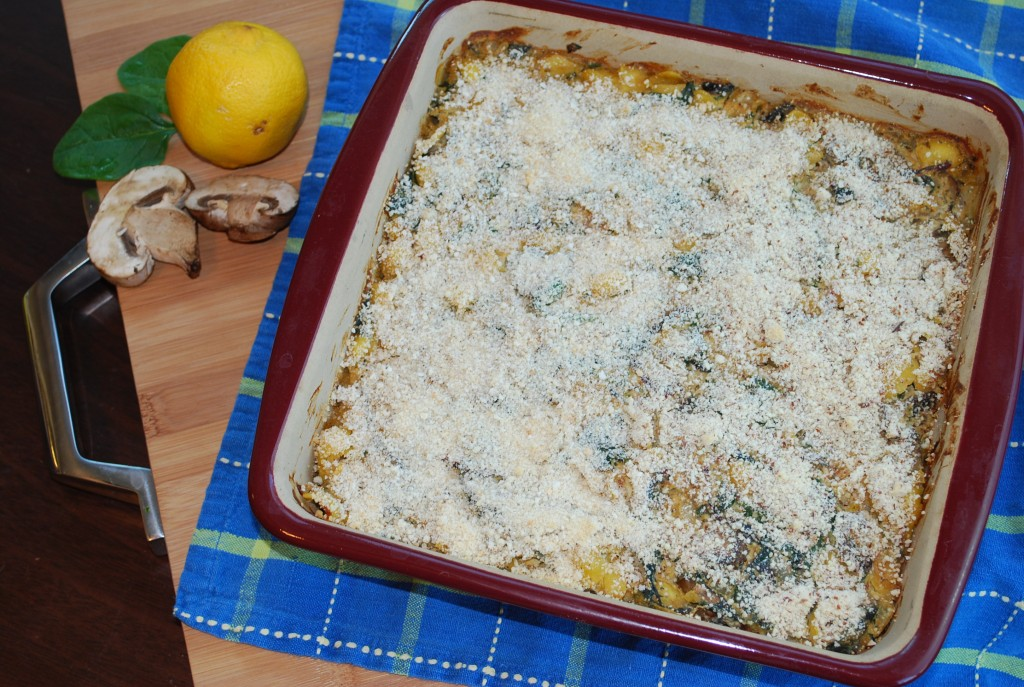 Lemon, Baby Bella & Greens Pasta Bake