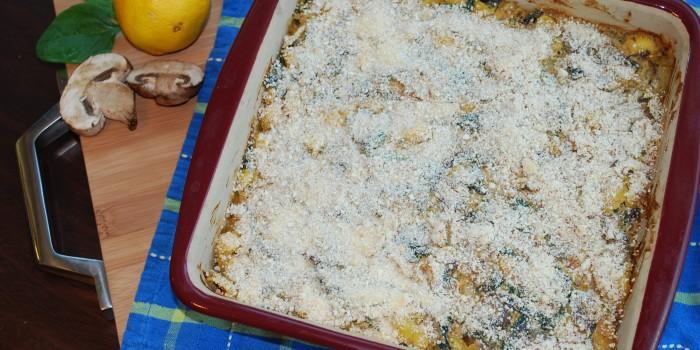 Lemon, Baby Bella & Greens Pasta Bake